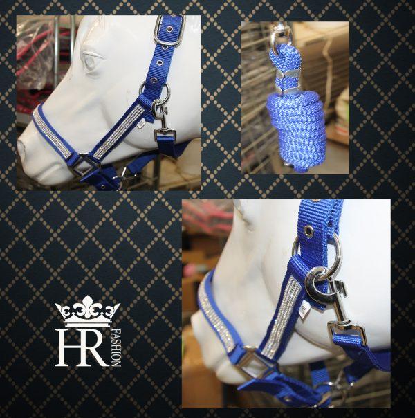 Halsterset blauw met strass steentjes en halster-touw